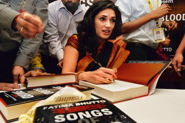 Fatima Bhutto signs autographs at the launch of her book 'Songs of Blood and Swords; in Mumbai in 2010. Photo: Vijaynanand Gupta/Hindustan Times